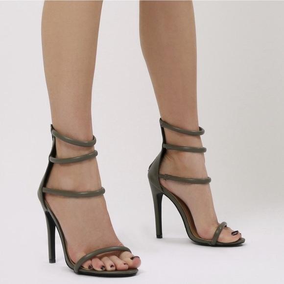 5bc1fee39dd Spring 2019 kaki ankle strap stilettos. Boutique. Public Desire